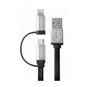 Ferrari 2n1 CHARGING CABLE - MFI Lightning & Micro USB Cable (Black)
