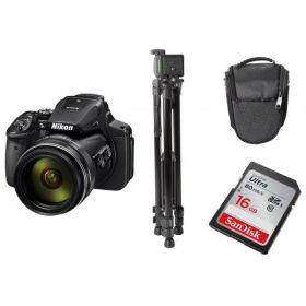 Nikon Coolpix P900 Digital Camera, Black + Tripod + DSLR Bag + 16GB Ultra SDHC Memory Card