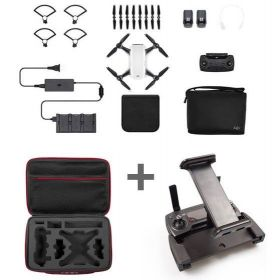 DJI Spark Mini Drone Alpine White Fly More Combo With Custom Tablet Holder and Hard Case Bundle