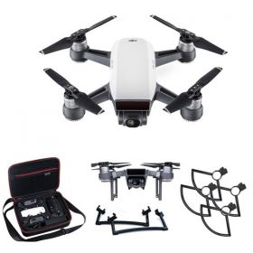 DJI Spark Mini Drone Alpine White Fly More Combo With Spark Landing Gear, Spark Propeller Guard & Hard Case