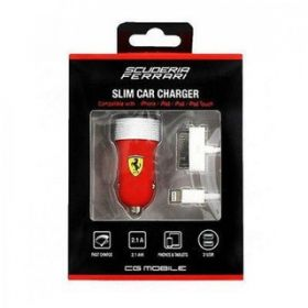 Ferrari Car Charger with 2 USB Slot, 2.1A (Slim Rubber Finish) with 30-Pin and Lightning Cable (Red)