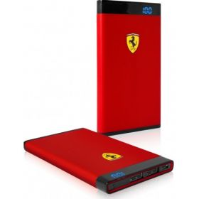 Ferrari Power Bank 12000mAh with LED Power Indicator (MicroUSB Cable included)- Red