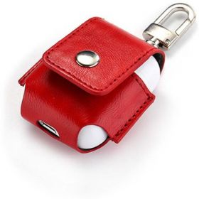 Red AirPod leather case protector with belt hook/ key chain hanger