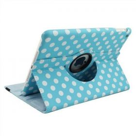 Blue with white POLKA DOT PU LEATHER COVER CASE SWIVEL STAND FOR iPAD AIR 5 5th