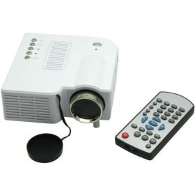 Portable Mini LED Projector Home Cinema Theater with AV VGA USB & HDMI for 80 Inch Cinema (White)