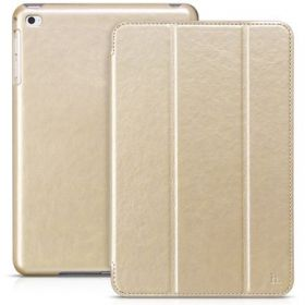 Hoco Apple iPad Mini 4 Smart Wake Sleep Tri-Fold Leather Stand Case Cover - Gold