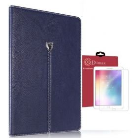 Dimax Slim Leather Case for Samsung Galaxy Tab S2 SM-T815 / Blue with Dimax Clear Screen Protector