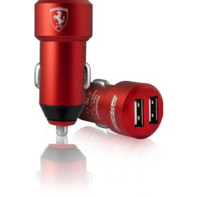 Ferrari Satined Aluminum Car Charger 2 USB Ports-(Red)