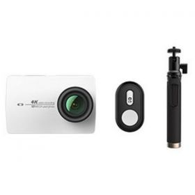 YI 4K Action Camera, 12MP, 4K, Sony IMX337 Sensor - White ( International Version ) + YI Selfie Stick + YI Bluetooth Remote Bundle Kit