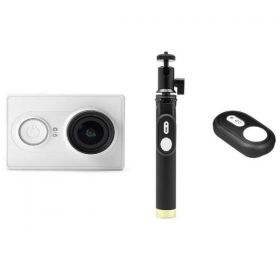 YI Action Camera, 16MP, HD, Sony Sensor - White ( International Version ) + YI Selfie Stick + YI Bluetooth Remote Bundle Kit