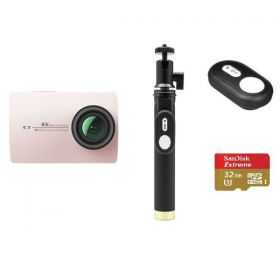 YI 4K Action Camera, 12MP, 4K, Sony IMX337 Sensor - Pink ( International Version ) + YI Selfie Stick + YI Bluetooth Remote + Sandisk 32GB Extreme Micro SD Card Bundle Kit