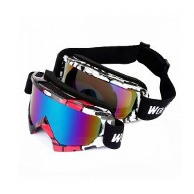 Unisex UV400 Protection Outdoor Sports Goggles Black + White