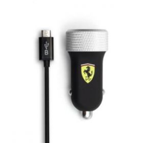 Ferrari Car Charger with 2 USB Slot 2.1A (Slim Rubber Finish) with Micro USB Cable (Black)