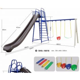 Kids Outdoor Big Slides and Swing SHA-16018