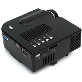 Portable Mini LED VGA, USB & HDMI Projector for 80 Inch Cinema, Black