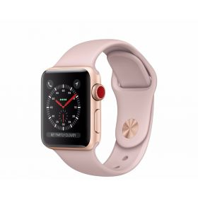 Apple Watch 38mm Series 3 GPS + Cellular Gold Aluminium Case with Pink Sand Sport Band