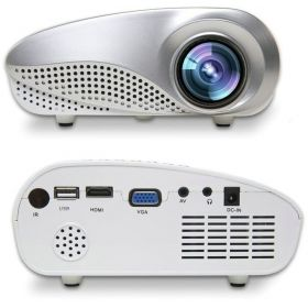 eTrends Mini Portable Home theater 60 Lumens LED Projector, Media Player, USB HDMI VGA TV 1080p [White]