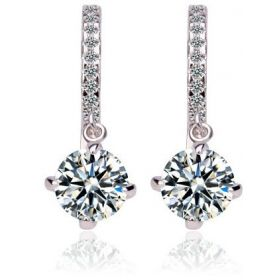Elegant swarovski elements women diamond crystal gold plated drop hoop Earrings Jin65