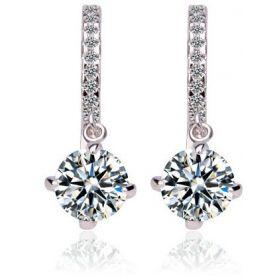 Elegant swarovski elements women diamond crystal gold plated drop hoop Earrings Jin65