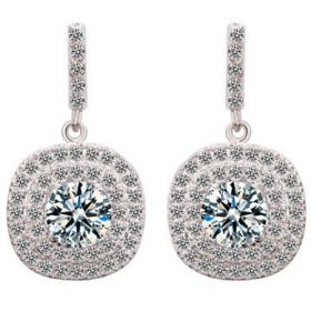Crystal style Earring women's white gold plated Glisten Exquisite diamond drop Earrings