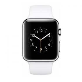 Apple Watch 42mm Stainless Steel Case with White Sport Band