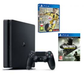 Sony PS4 Slim 1TB Gaming Console With Call Of Duty Legacy Bundle Black + FIFA 17