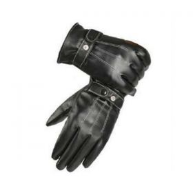 Warm Lined Mens Leather Gloves - Black