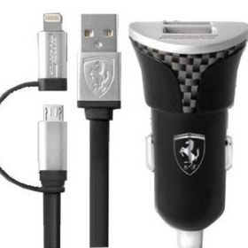Ferrari Bundle Pack Car Charger with Carbon Fiber Print includes 2 in 1 Cable (Lightning and Micro USB)-Black