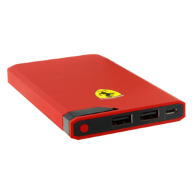 Ferrari Power Bank 10000mAh with LED Power Indicator (MicroUSB Cable included)- Red