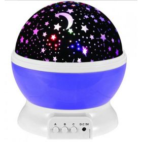 Romantic Rotating Star Moon Sky Rotation Night Projector Light Lamp-Purple