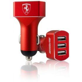 Ferrari Satined Aluminum Car Charger 3 USB Ports (Red)