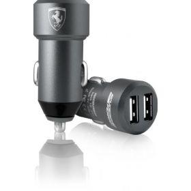 Ferrari Satined Aluminum Car Charger 2 USB Ports-(Grey)