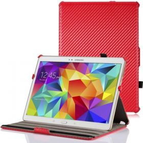Samsung Galaxy Tab S 10.5 Case Slim-Fit Multi-angle Folio Smart Cover - Moko (Red Carbon Fiber)