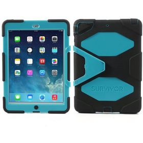 Griffin Survivor Case for iPad Air 5 with Stand and Screen Protector – Black / Blue