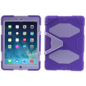 Griffin Survivor Case for iPad Air 5 with Stand and Screen Protector – Purple / Light Purple
