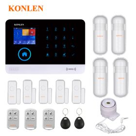 KONLEN® H36 Voice LCD WIFI GSM Home Security Alarm System RFID Wireless Spanish Polish SMS Call App Alert Android IOS 5 Door 4 PIR Detector
